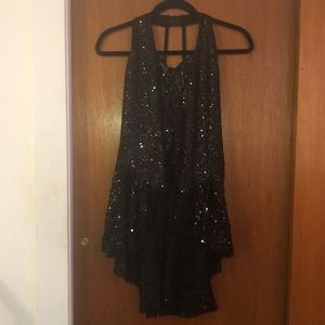 Black Sequined  Racerback High Low Peplum Top